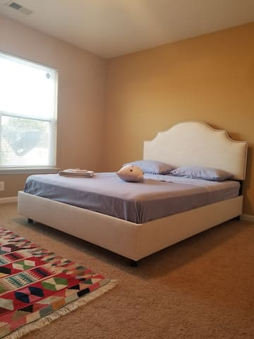 Simple, clean, cozy, comfortable, with private bathroom and big closet.