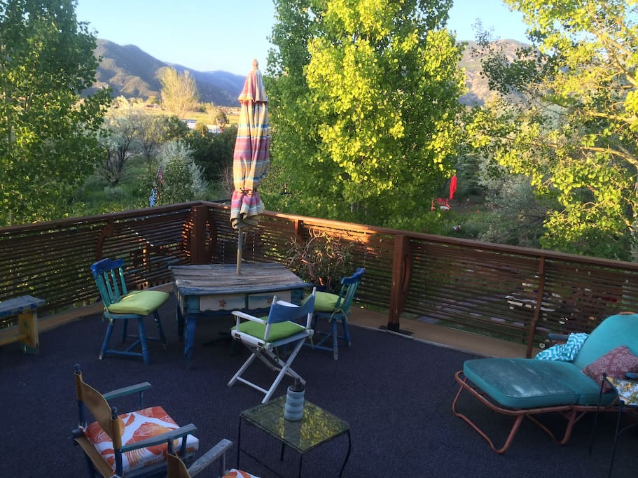 View from the Sunrise deck! The Sangre de Cristos 2 miles away, in the privacy of an Aspen Grove.
