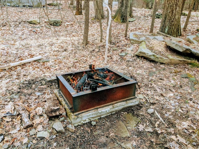 An outdoor firepit ( and surrounding patio is on the way)
