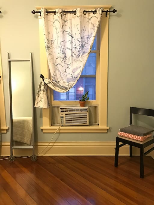 Window AC unit to make sure our guests are comfy! (Our home has central AC but it primarily cools the main floor.)