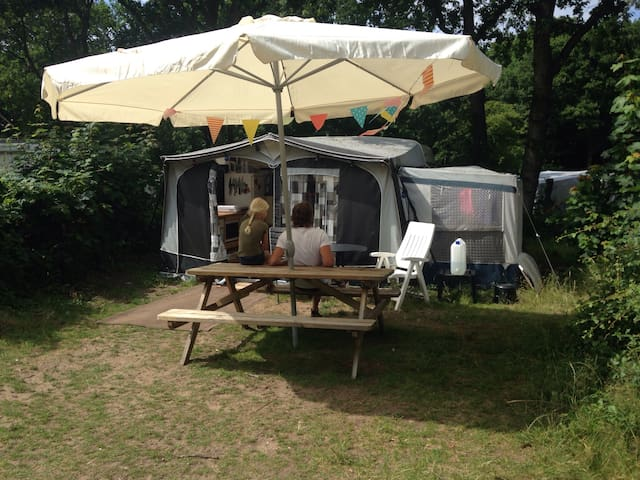 Caravan op camping geversduin