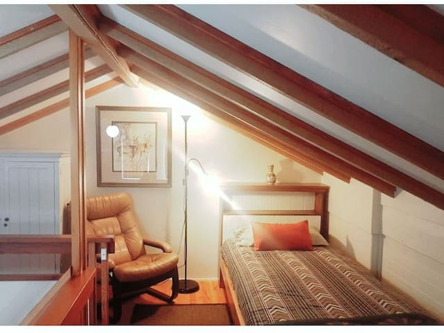 Upstairs in the loft there is a comfortable single bed available for a third person at a small additional cost.