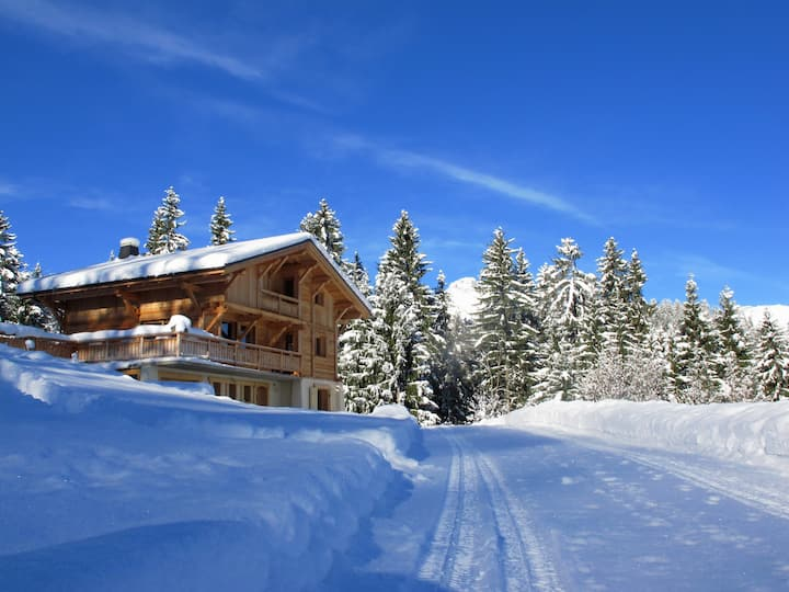 Chalet vue panoramique sur le massif du Mont-Blanc