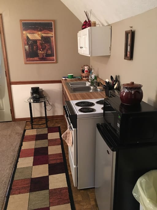 The mini kitchen has a small fridge, microwave, oven/stove, sink, and coffee bar. Dishes and cookware are included.