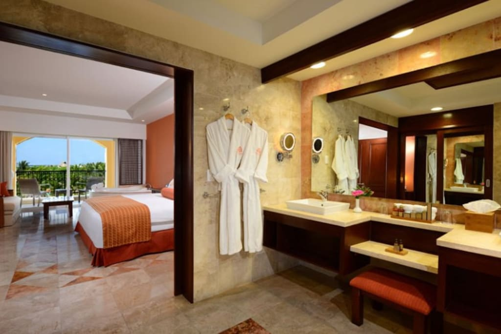 Bathroom with dressing area and Bedroom