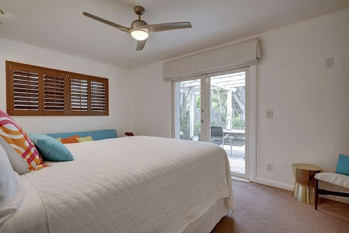 Third bedroom has Queen pillowtop bed plus additional full Serta sofa bed, direct outdoor access and private hall bath
