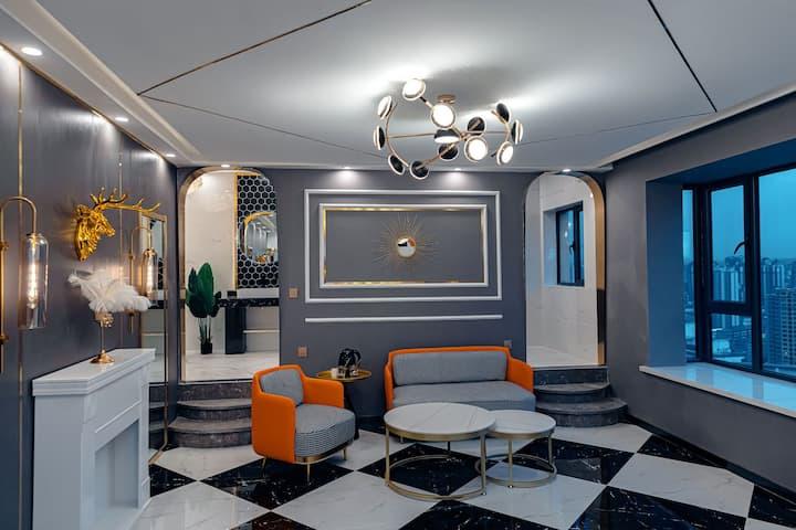 繁宿 城市中心 西站十字繁华商圈中心西客站 网红轻奢浴缸主题公寓 高层景观