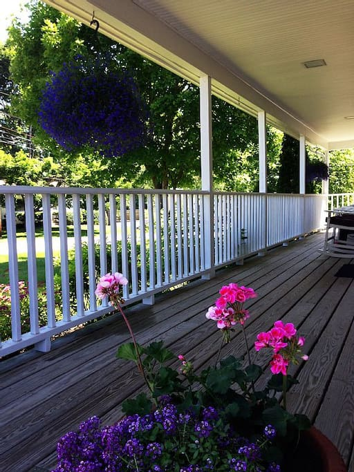 The covered patio provides a peaceful place to enjoy a hot summer day