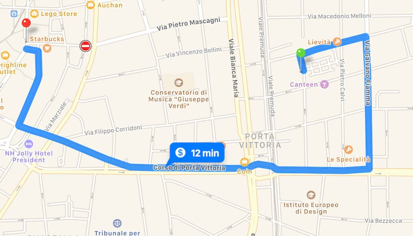 Map -  distance from the center of the city by walk - 12 minutes from the Dome