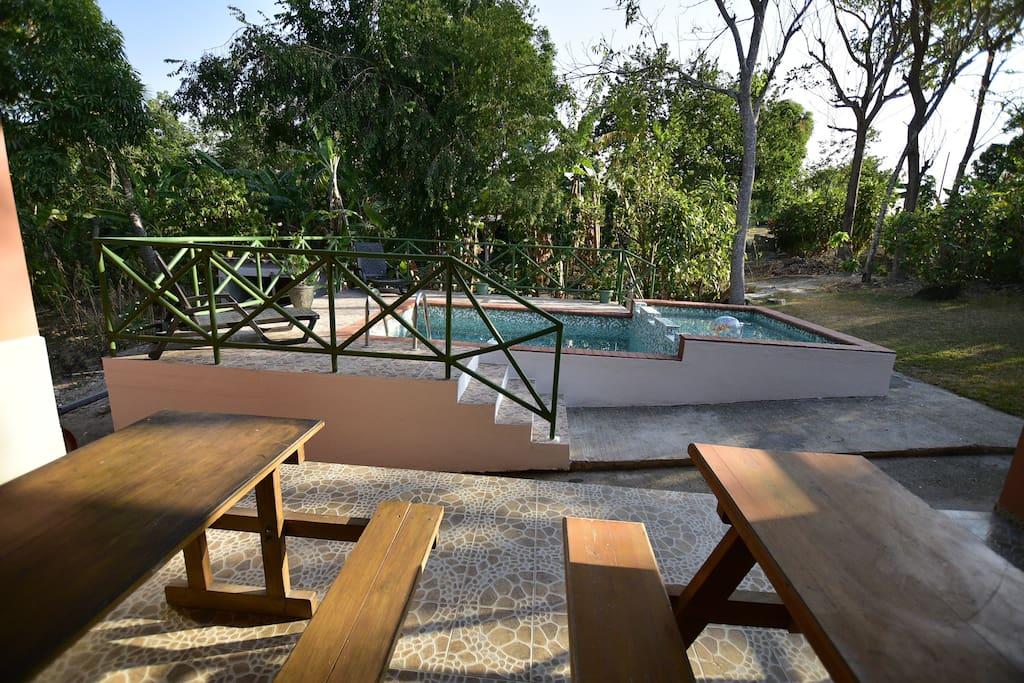 Una vista panorámica de la piscina y de las metas de picnic que puede hacer uso los huéspedes en común