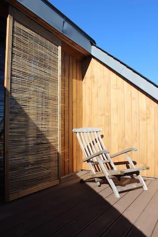 Espace privé 38m² chambre, sdb, terrasse, garage
