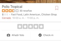 Pollo Tropical, latin food, Fast food, very fresh, good and good price, very close to home.
