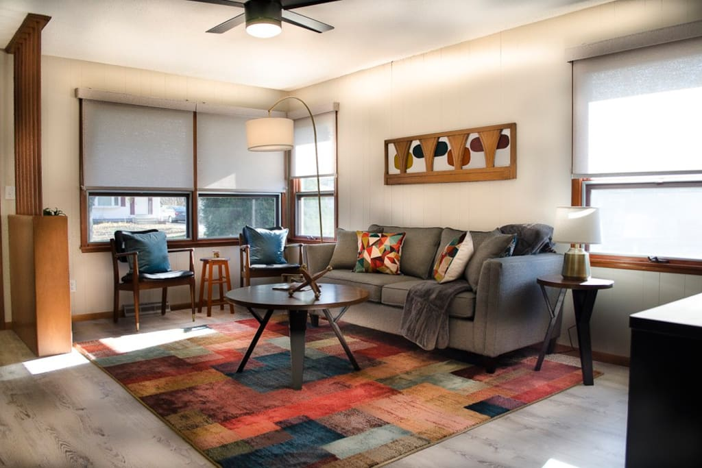 Relax in our Mid-Century Modern inspired space!