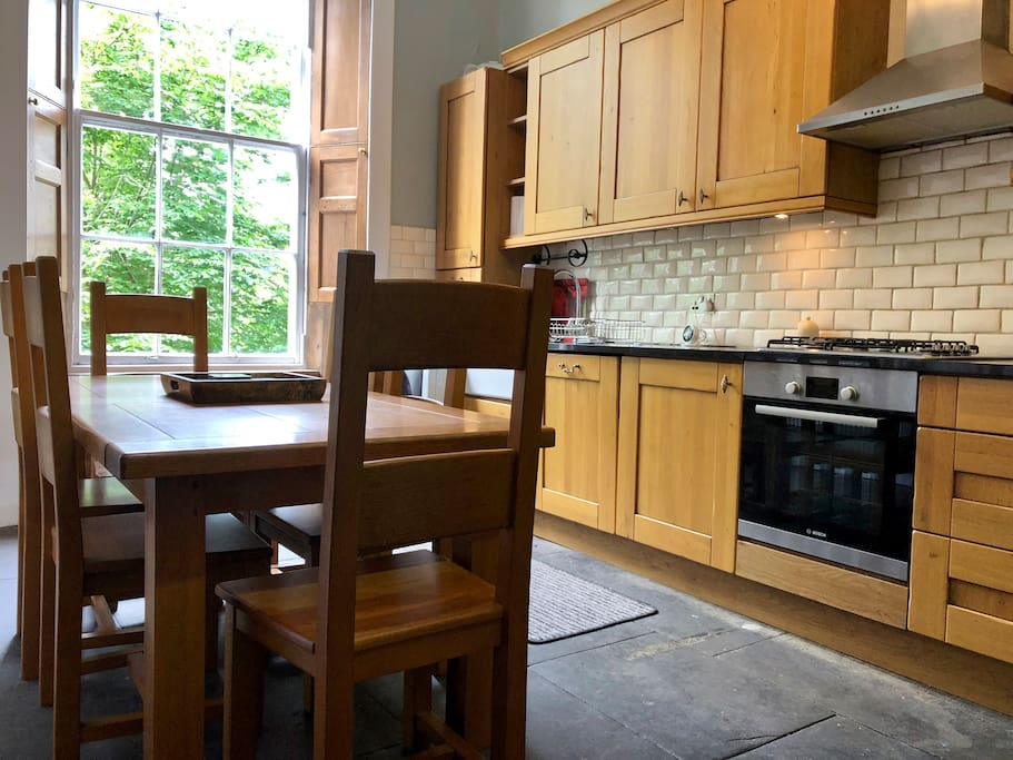 Kitchen - large kitchen and dining room. Kitchen is fully equipped with large walk in larder and fridge. Perfect for storing those picnics!