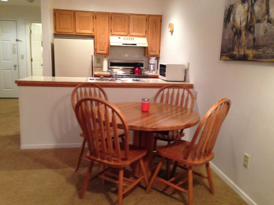 Well equipped kitchen & dining area