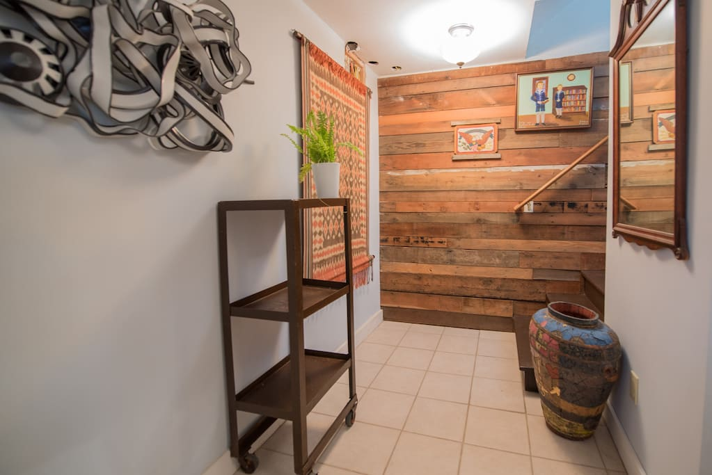 Just outside your entrance. This is a basement apartment.Laundry area to your right.