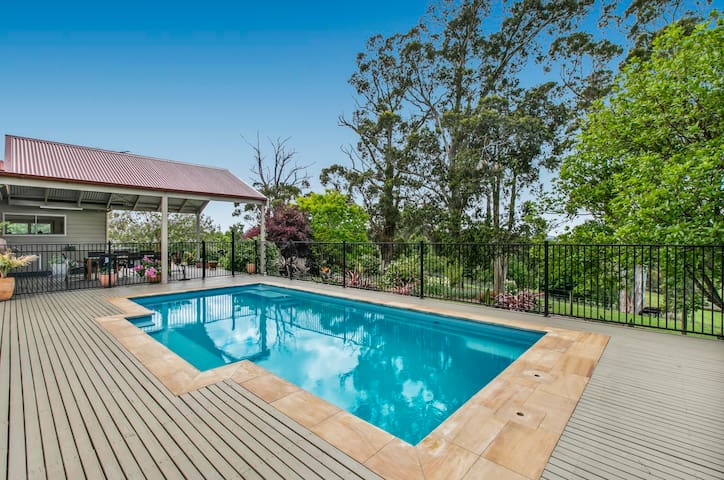 enjoy the views from the solar heated pool