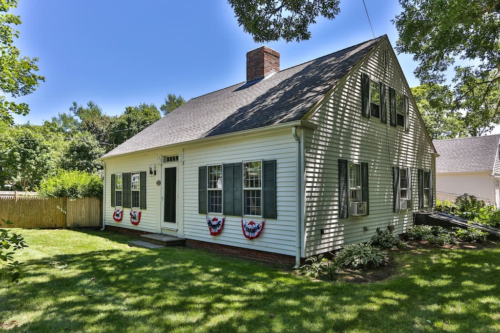 A view of the house with the front decked out of July 4th.