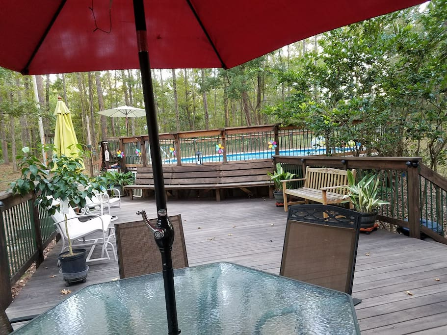 Sit out on the back deck anytime to enjoy your coffee, the view and nature.