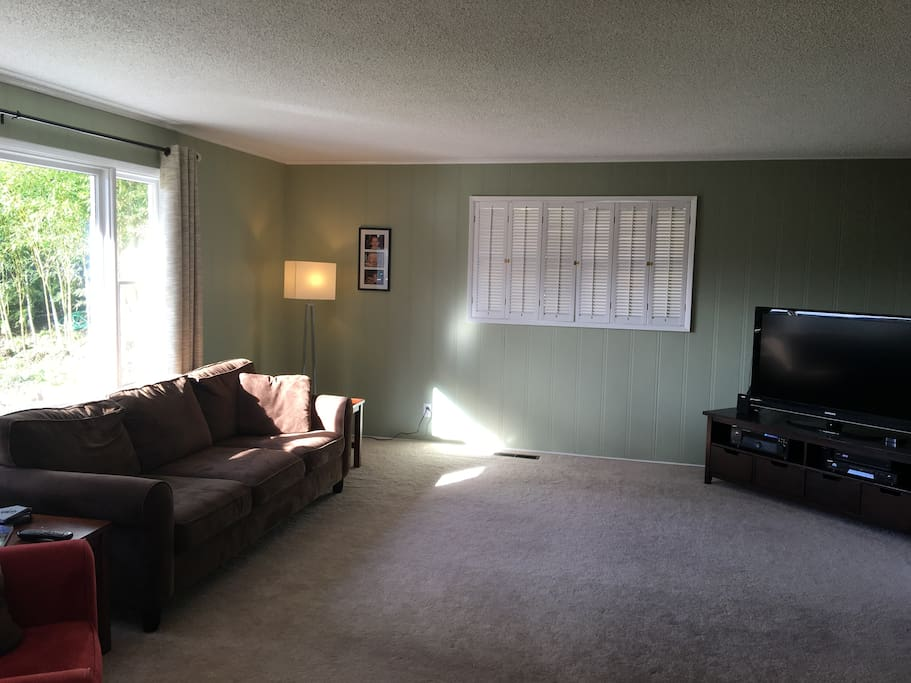 Family room with Smart 55 inch tv and plenty of seating.
