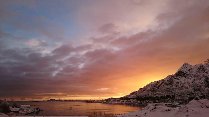 Koselig hus rett ved kaikanten midt i Lofoten