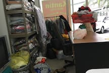 cheap laundry on the ground floor inside the canteen