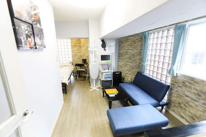 #34★南部中心|直达机场|距难波站5-10分钟|舒适漂亮的空间|室内&移动 WiFi免费