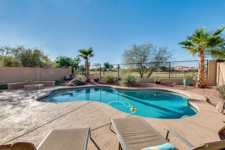Sparkling Heated Pool with Golf Views in Johnson Ranch, Spring Training Gem.