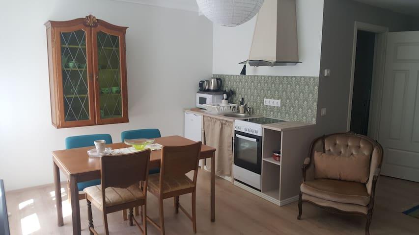 Cozy beach side apartment .