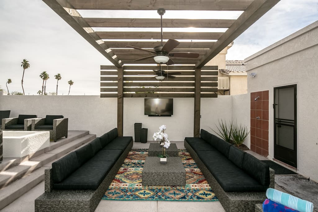 "Outdoor living, with large seating area, 55"" TV, with soundbar"