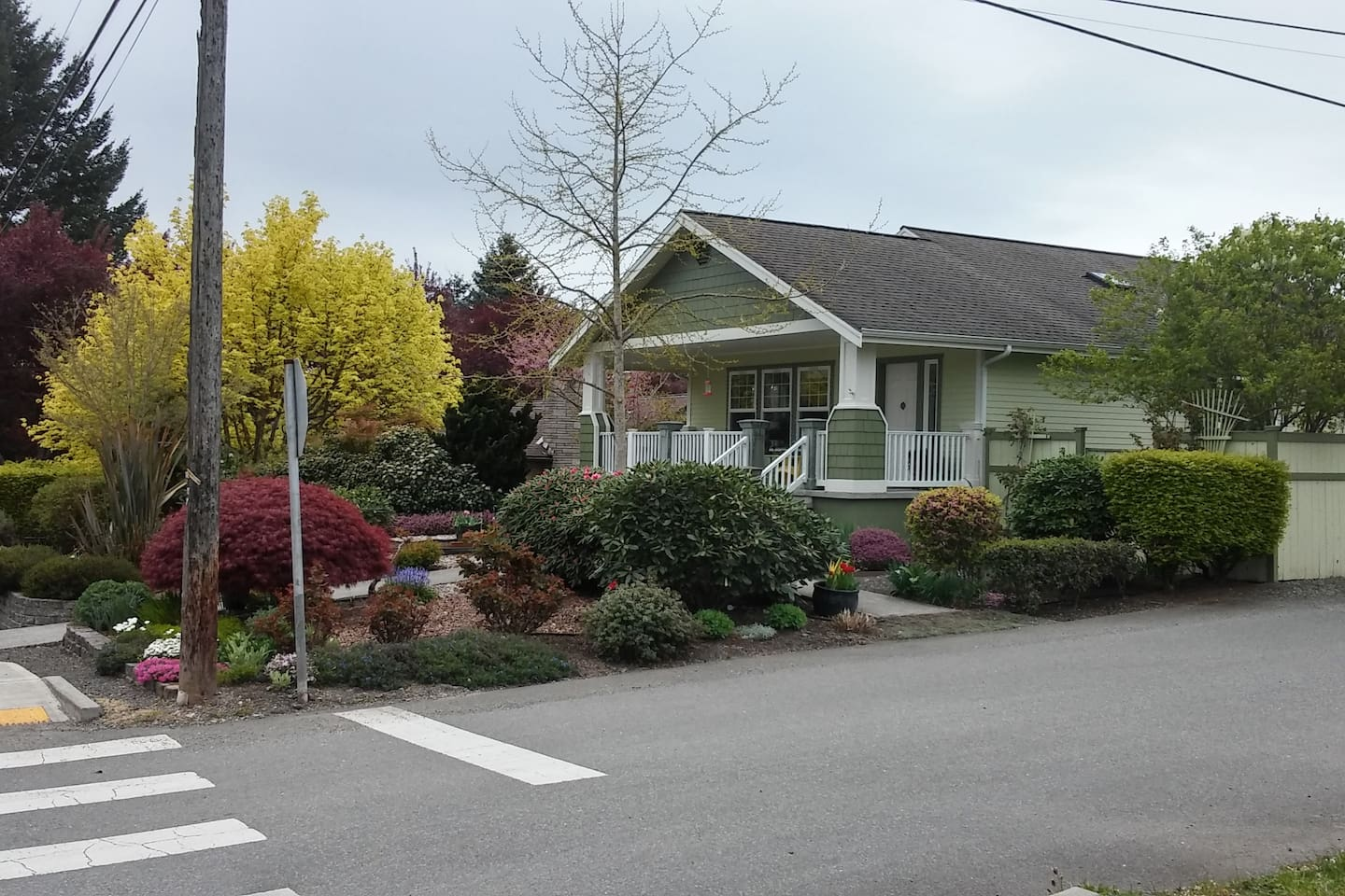 This is the host home and front yard.   Poulsbo's Perch and Parking is in the back.  We are located on the corner of 6th Avenue NE and Ryen Street.  Turn right at Ryen from 6th Ave NE.  Access the driveway off of Ryan Street.