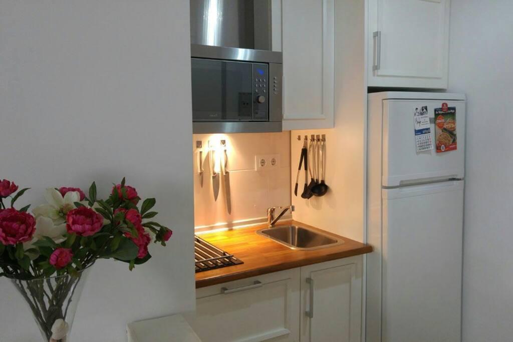 cocina totalmente equipada con horno-microondas y un frigorífico grande, cafetera, exprimidor para zumos y todo lo necesario para una estancia agradable.