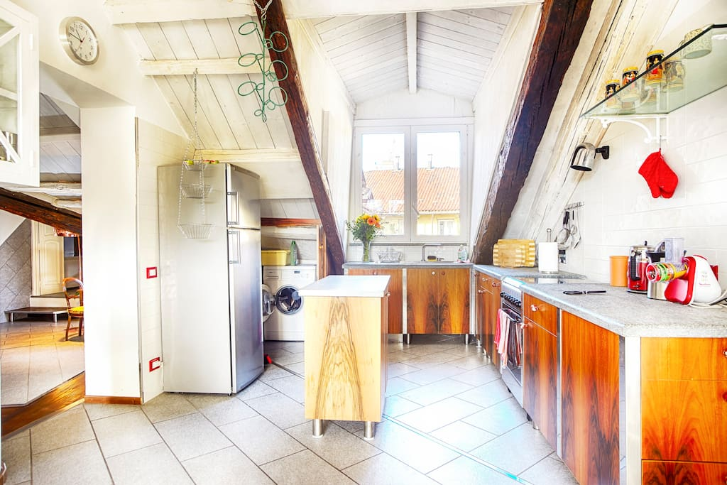 KITCHEN: The spacious kitchen with dining area opposite to it