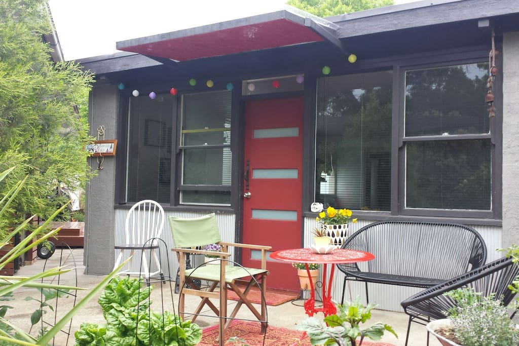 Front of cottage with outdoor seating  area