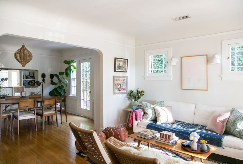 Living room and dining room - sunny and bright