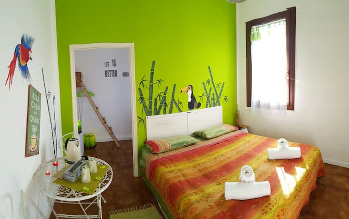 Dormitorio de bambú
