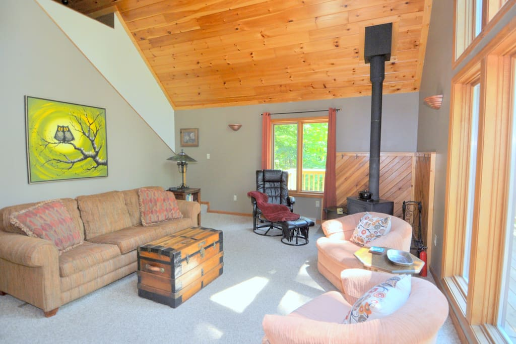 Another View of the Large Open Living Room with Wood Stove