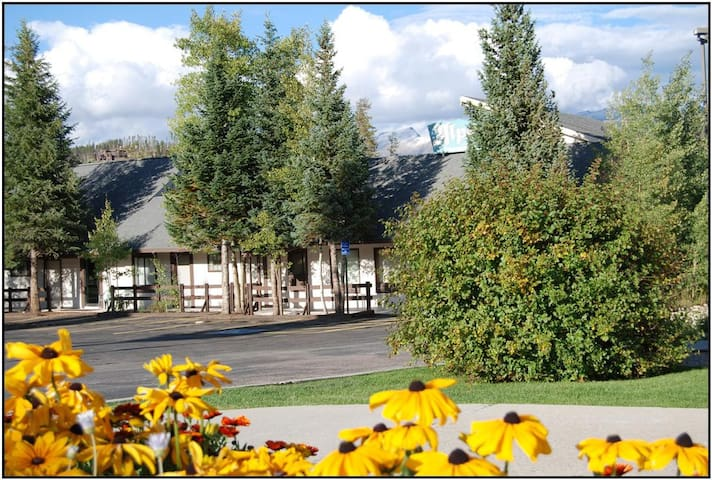 Exterior view in the fall.  Mountain views from every angle outside the unit.