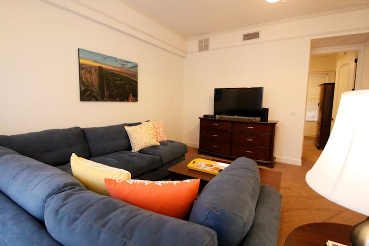 """Living area with 50"""" TV, Wifi, Cable"""