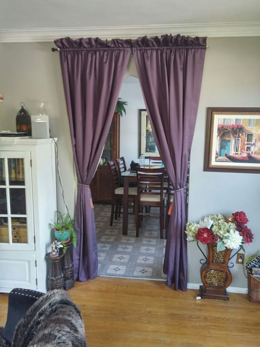 Curtains for Privacy Separating the Kitchen and Living Room