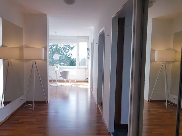 Sisääntullessa valo tulvii huoneistoon.