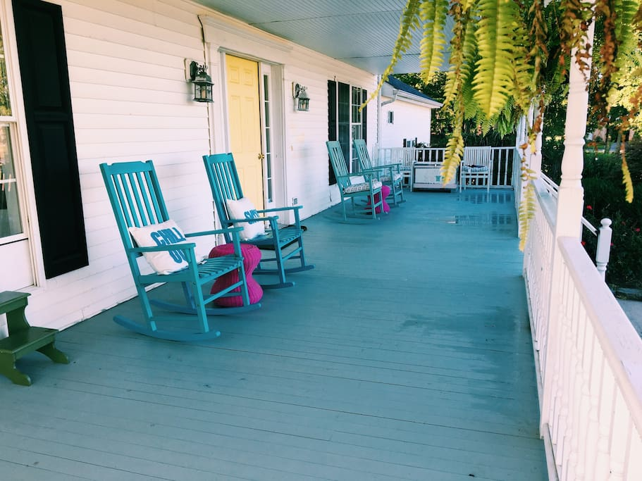 Terrific front porch to relax on in the rocking chairs