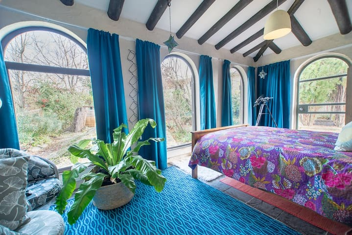 """The spacious """"Garden View Room"""" (not central heated therefore summer time use only)."""