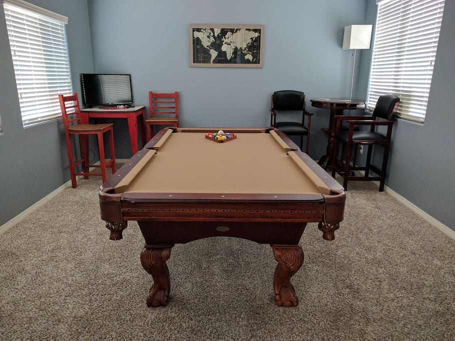 Game room includes billiards, darts, Foosball, and SkeeBall!
