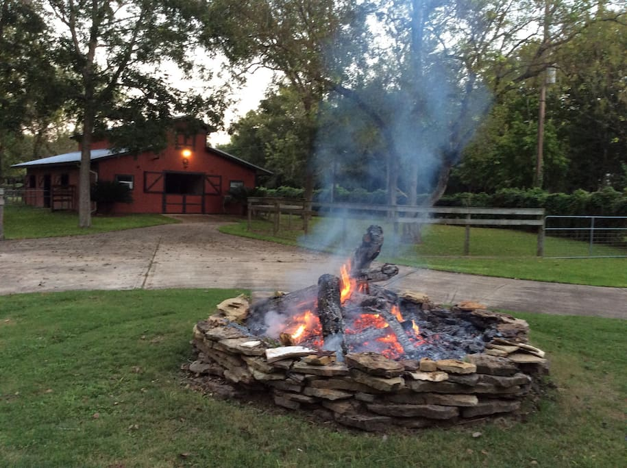 This is the original fire pit, I built by myself in 2001. Some of the stones are heavier than I am :)