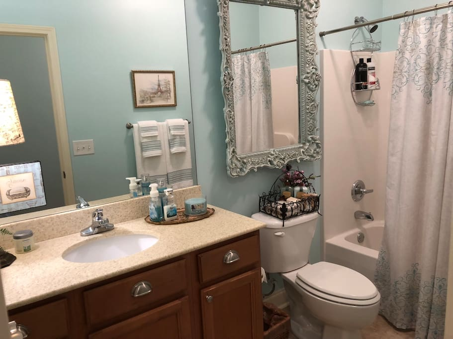 With your space, is a private bathroom complete with towels, shampoo, and soap in a beautiful decor. You will enjoy the spa-like feel!
