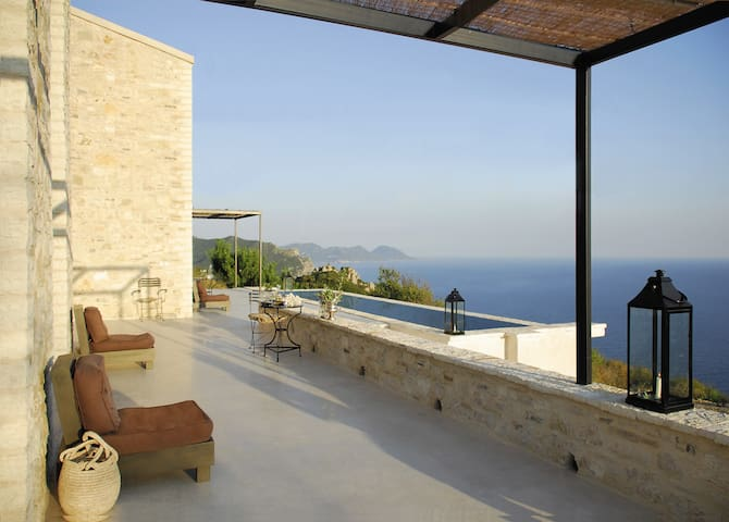 Modern stone house with stunning sea view - Korfu