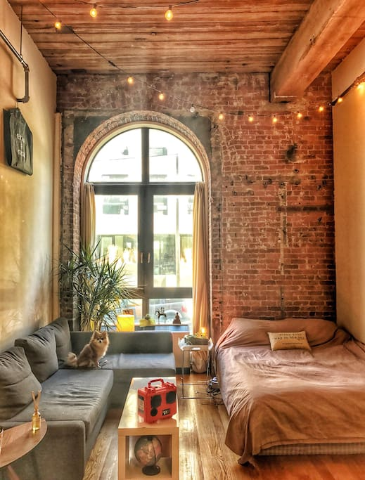 Gorgeous Sunlit Studio with high ceilings, huge windows and exposed brick