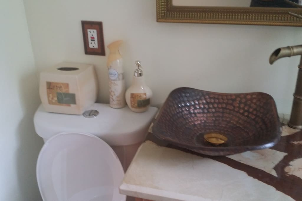 Mexican Hammered Sink, Marble Countertop, Fountain Faucet... Ooo La Laaa