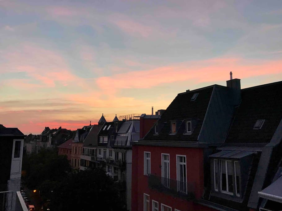 View from the terrace - sundowner over the Belgium Quarter